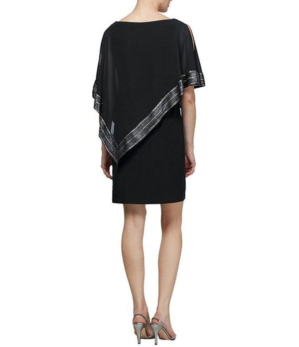 イグナイト レディース ワンピース トップス Foil-Trim Asymmetrical Hem Dress Black/Silver