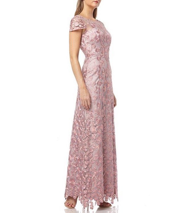 ジェイエスコレクションズ レディース ワンピース トップス Floral Embroidered Gown Pink/Multi