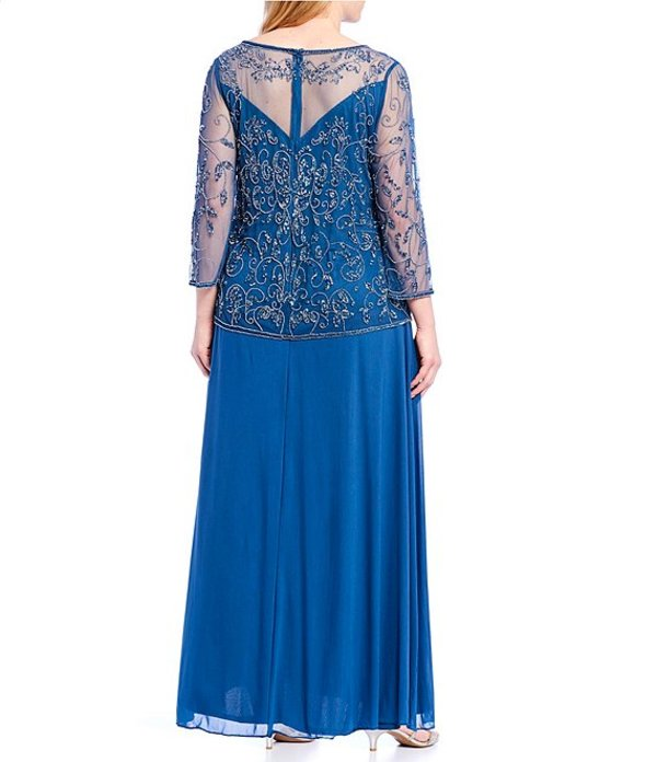 ピサッロナイツ レディース ワンピース トップス Plus Size Beaded Bodice A-Line Gown Petrol Blue