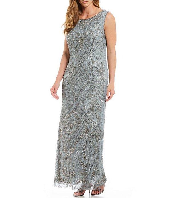 ピサッロナイツ レディース ワンピース トップス Plus Size Sleeveless Beaded Lace Gown Silver