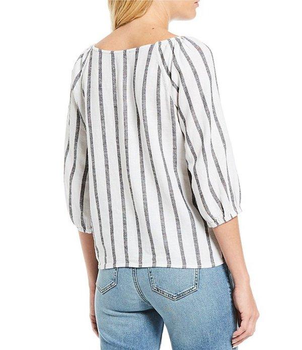 サンクチュアリー レディース シャツ トップス Modern Summer Linen Blend Button Front Stripe Top Still Life Stripe