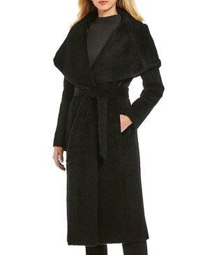 ダナキャラン レディース コート アウター Alpaca/Wool Blend Wrap Shawl Collar Belted Coat Black