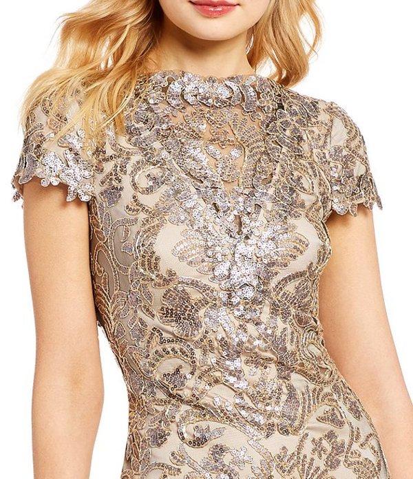 タダシショージ レディース ワンピース トップス Sequin Embellished Lace Gown Copper/Shadow