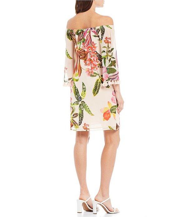 トリーナターク レディース ワンピース トップス Amaris Georgette Off-the-Shoulder Tassel Floral Print Silk Shift Dress Flawless Beige