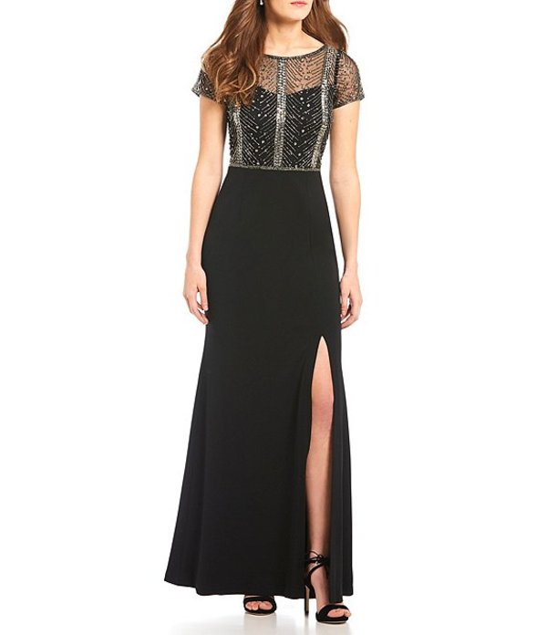 アドリアナ パペル レディース ワンピース トップス Beaded Bodice Slit Crepe Gown Black