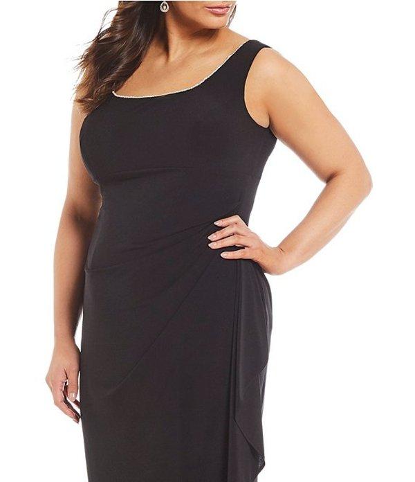 アレックスイブニングス レディース ワンピース トップス Plus Size Pearl Trim Bolero Jacket Dress Black