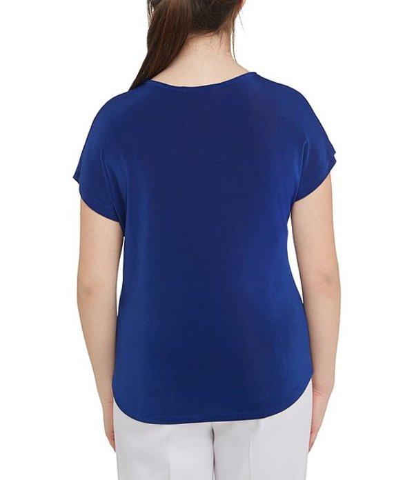 アリソン デイリー レディース Tシャツ トップス Lace Up V-Neck Solid Slinky Knit Top Cobalt