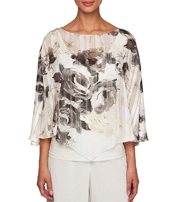 アレックスイブニングス レディース シャツ トップス Floral Print Overlay Chiffon Blouse Ivory/Taupe