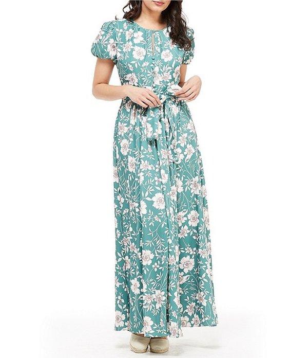 ギャルミーツグラム レディース ワンピース トップス Petite Size Shannon Floral Print Puff Sleeve Tie Waist Maxi Dress Jade/Ivory