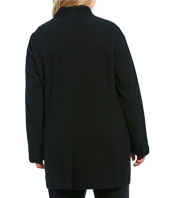 エイリーンフィッシャー レディース ジャケット・ブルゾン アウター Plus Size High Collar Button Front Long Jacket Black