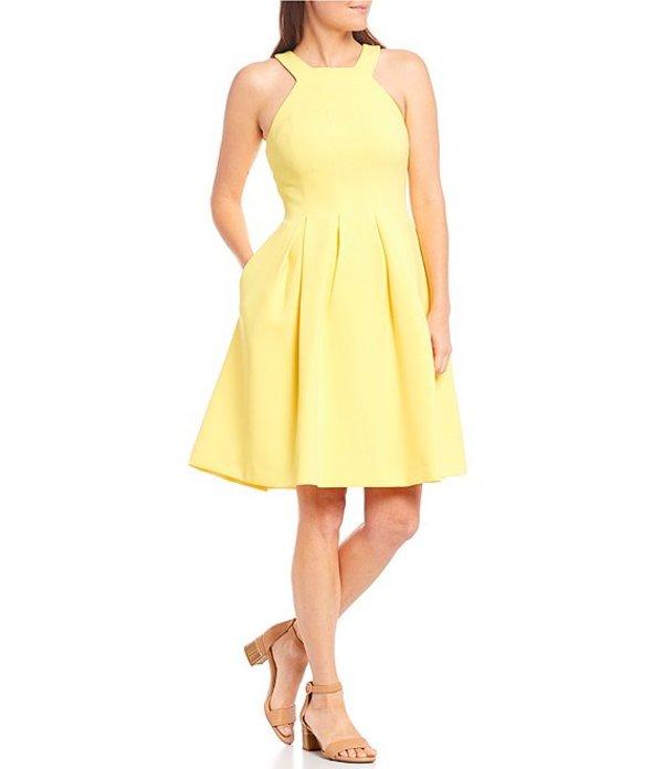 レディースファッション, ワンピース  Monica Halter Sleeveless Sleeveless Pleated Fit-and-Flare Dress Lemon