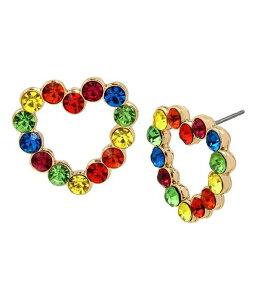 ベッツィジョンソン レディース ピアス・イヤリング アクセサリー Rainbow Stone Heart Stud Earrings Rainbow