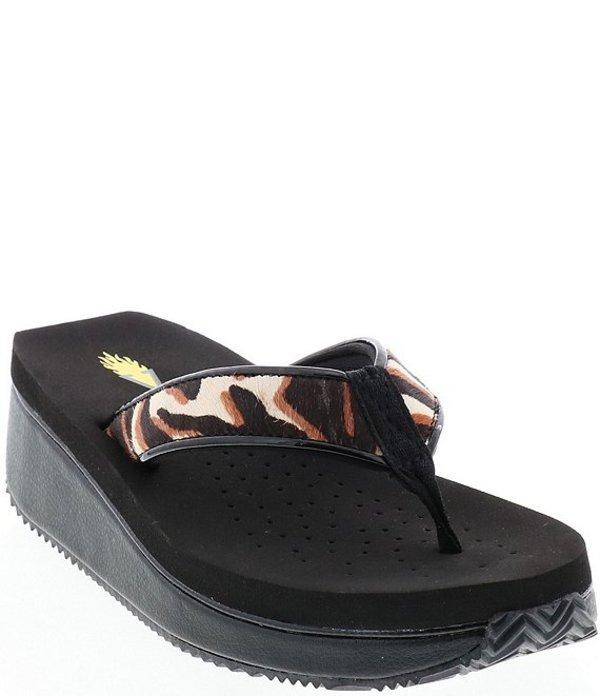ボラティル レディース サンダル シューズ Casco Cow Print Haircalf Wedge Flip Flops Black/Tan