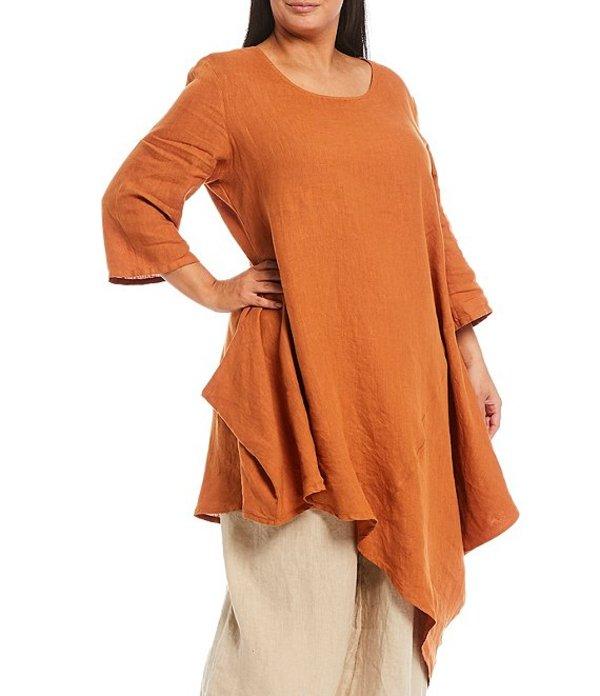 ブライン ウォーカー レディース カットソー トップス Plus Size Naida Scoop Neck 3/4 Sleeve Asymmetrical Hem Linen Tunic Hive
