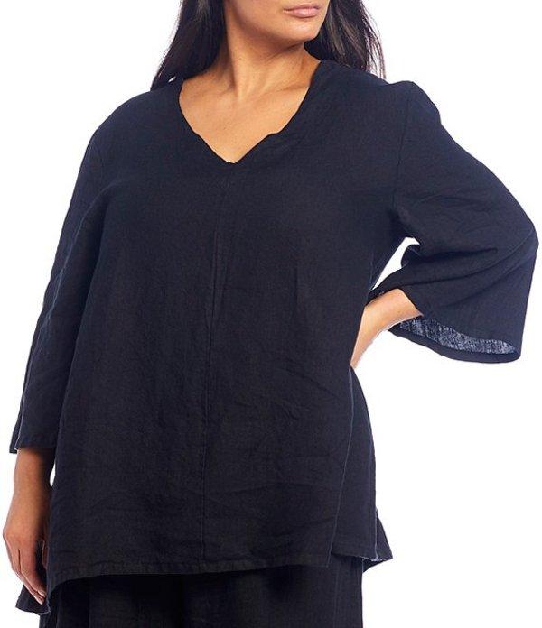 ブライン ウォーカー レディース カットソー トップス Plus Size Lilia V-Neck 3/4 Sleeve Linen Tunic Black