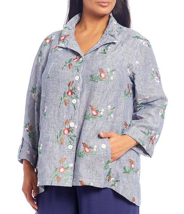 ジョン マーク レディース カットソー トップス Plus Size Pinstripe Floral Embroidery Wire Collar Roll-Tab Sleeve Hi-Low Button Front Linen Tunic Multi