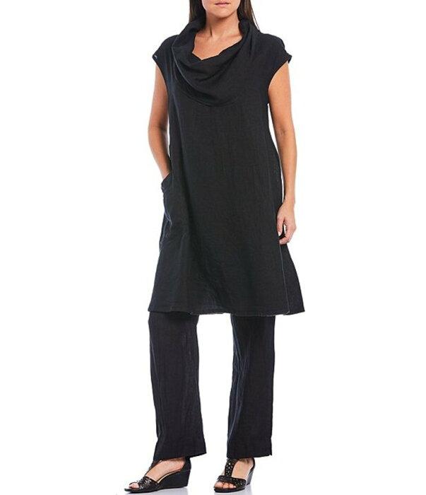 ブライン ウォーカー レディース シャツ トップス Nolan Cap Sleeve Cowl Neck Pocket Front Detail Long Linen Tunic Black