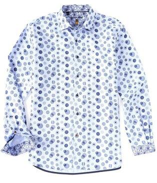 ビスコッティ メンズ シャツ トップス Circle Print Long-Sleeve Woven Shirt Blue