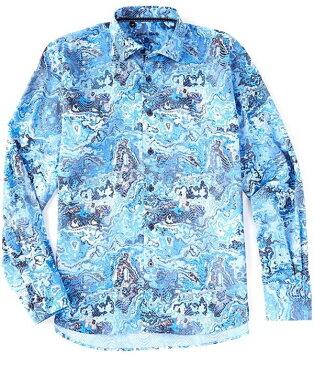 ビスコッティ メンズ シャツ トップス Marble Print Long-Sleeve Woven Shirt Blue