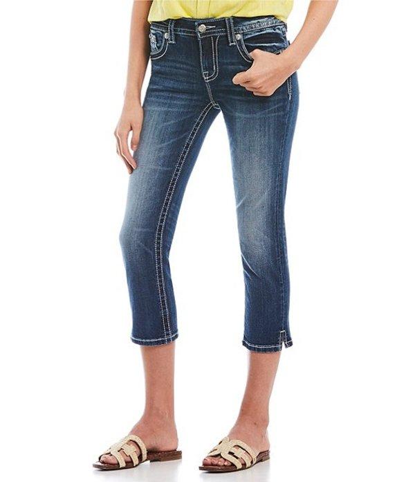 ミスミー レディース デニムパンツ ボトムス Floral Embellished Flap Pocket Capri Jeans Medium Blue