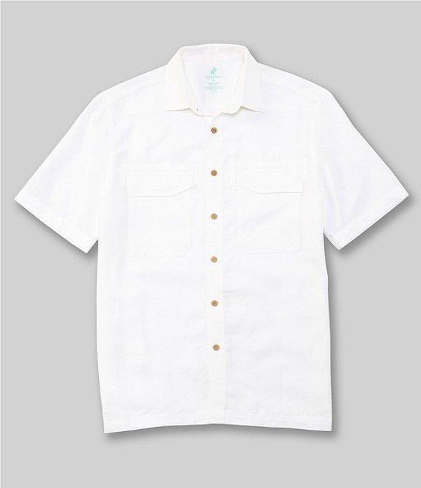 カリビアン メンズ シャツ トップス Vented Short-Sleeve Woven Shirt White