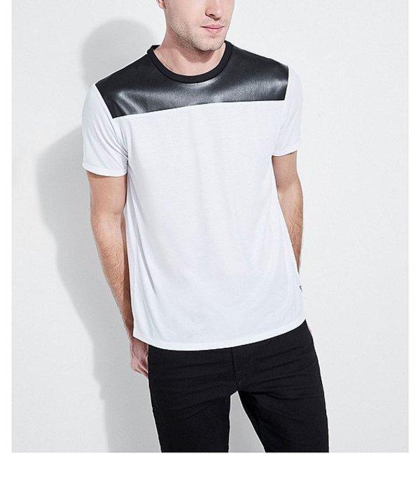 ゲス メンズ シャツ トップス Short-Sleeve Mason Fuax Leather Pieced Crew Pure White