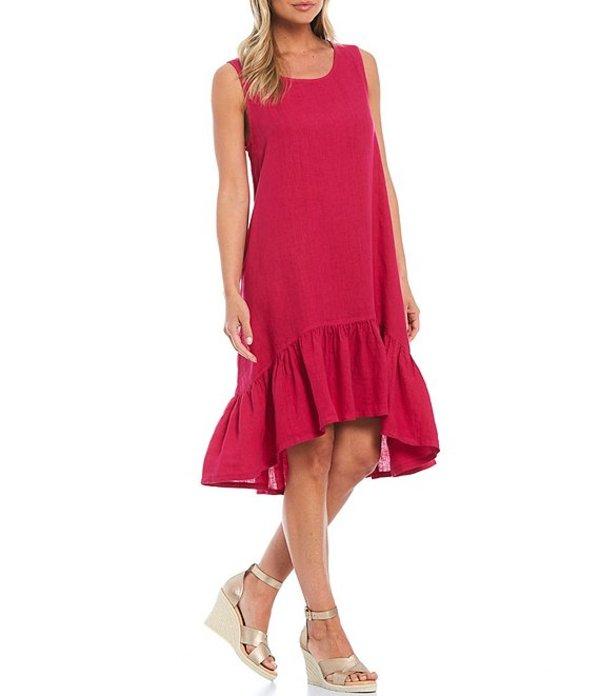 レディースファッション, ワンピース  Angelita Light Linen Sleeveless Hi-Low Ruffle Hem Dress Viaggio