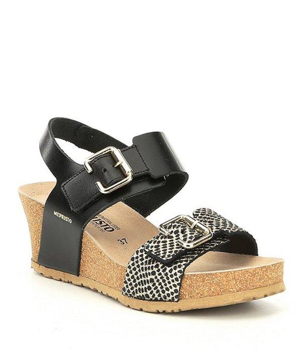 メフィスト レディース サンダル シューズ Lissandra Calfskin Cork Wedge Sandals Black 2
