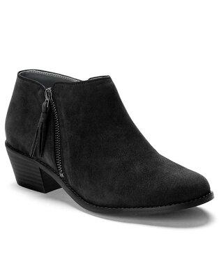 バイオニック レディース ブーツ・レインブーツ シューズ Serena Water Resistant Suede Zipper with Tassel Pull Block Heel Ankle Boots Black