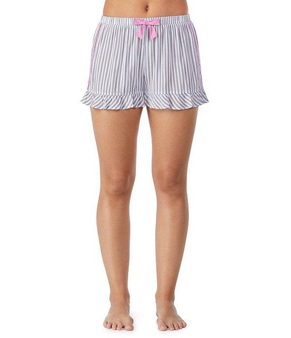 ケンジー レディース ハーフパンツ・ショーツ ボトムス Striped-Print Woven Sleep Shorts Grey/Ivory