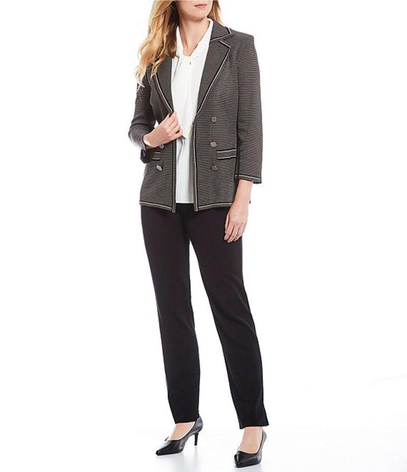 ミソック レディース ジャケット・ブルゾン アウター Patterned Knit Gunmetal Button 3/4 Sleeve Blazer Mink/Black