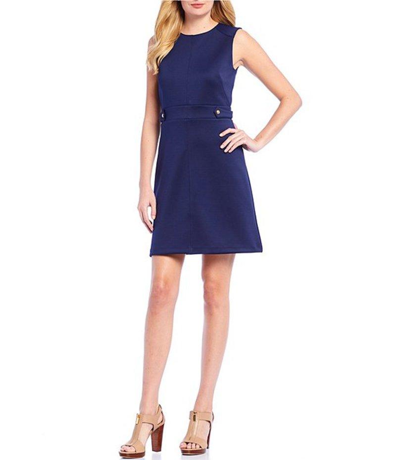 レディースファッション, ワンピース  Scuba Crepe A-Line Hardware Detail Sleeveless Dress True Navy