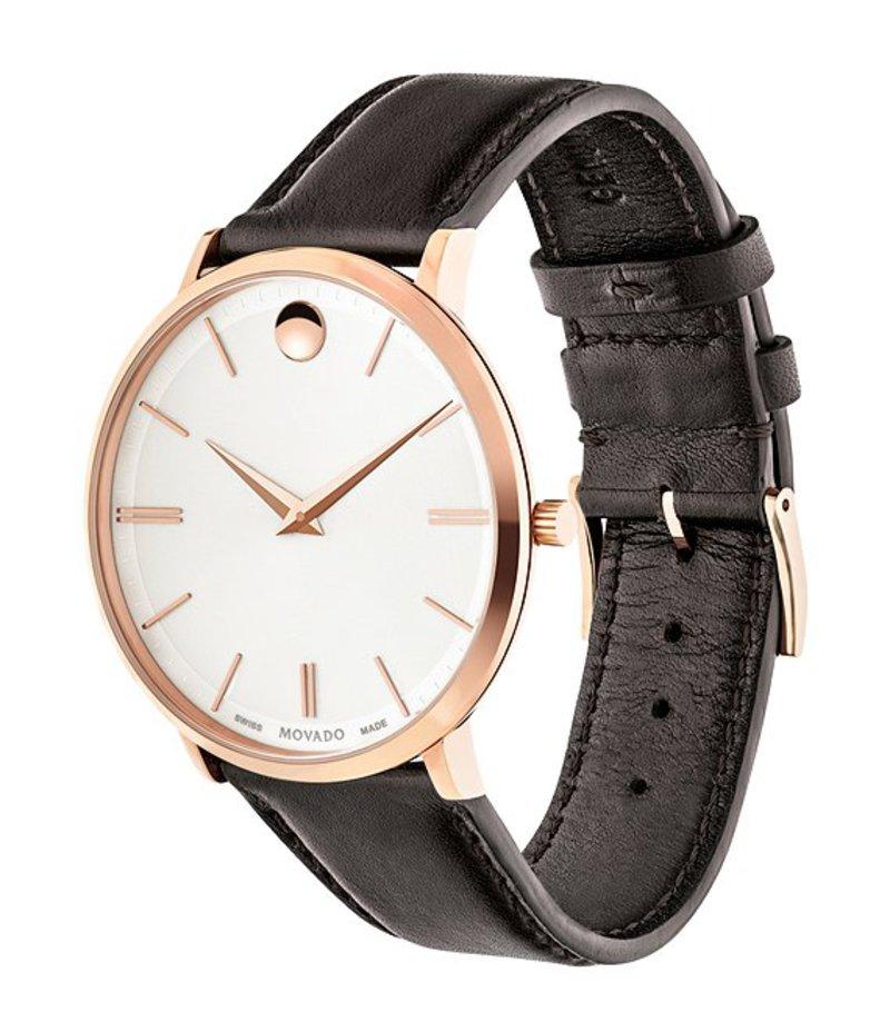 モバド メンズ 腕時計 アクセサリー Brown Calf Skin Ultra Slim Watch Rose Gold
