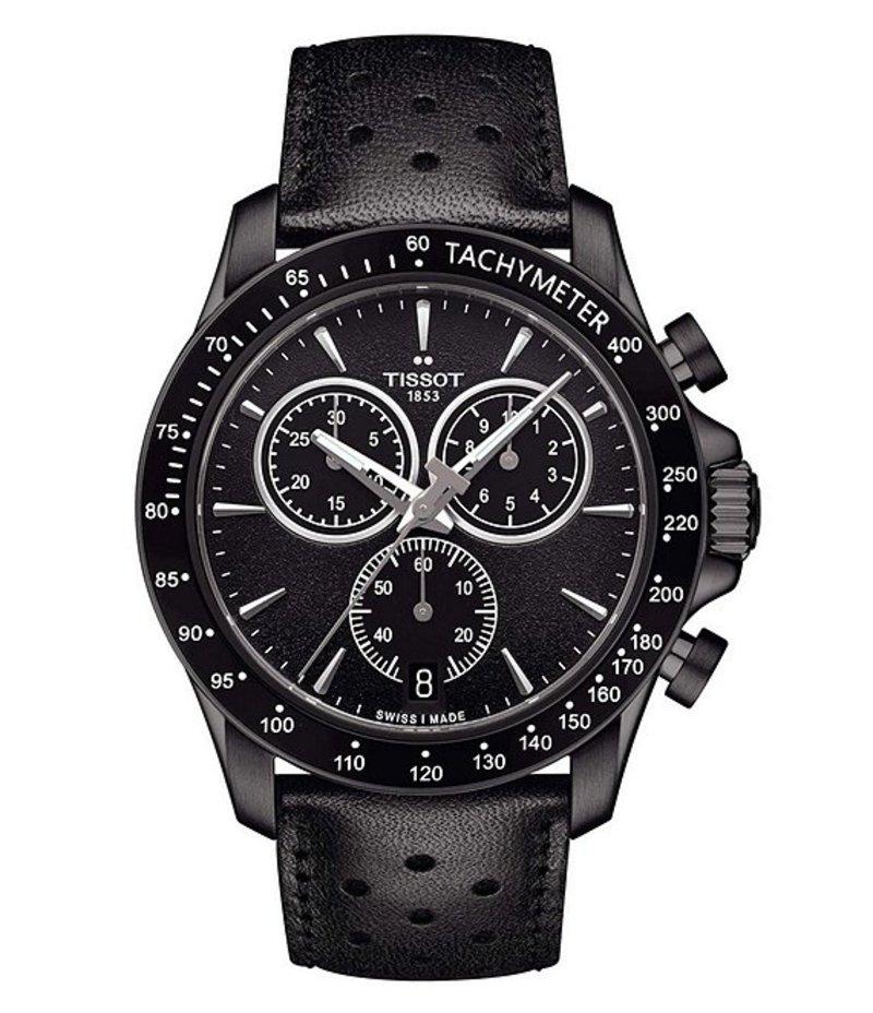 ティソット メンズ 腕時計 アクセサリー T-Sport V8 Chronograph & Date Leather-Strap Watch Black