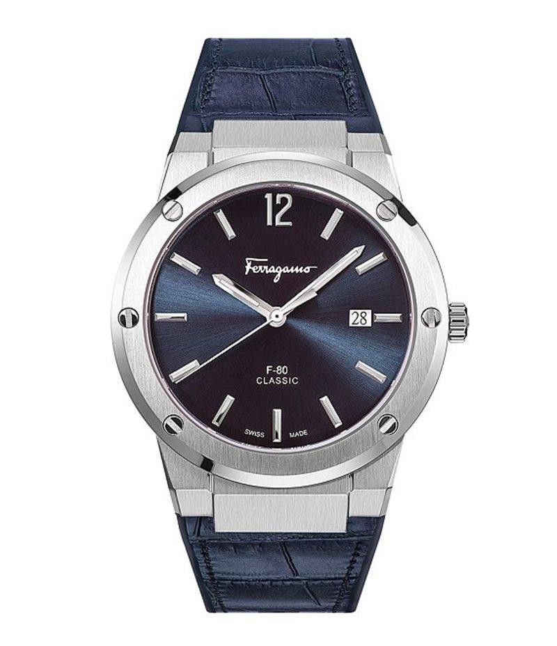 サルヴァトーレ フェラガモ メンズ 腕時計 アクセサリー F-80 Collection Blue Calf Leather Watch Blue