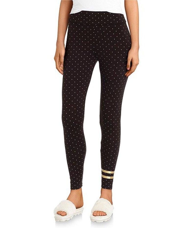 ボトムス, パンツ  Foil Dot Print Stretch Knit Sleep Leggings Black