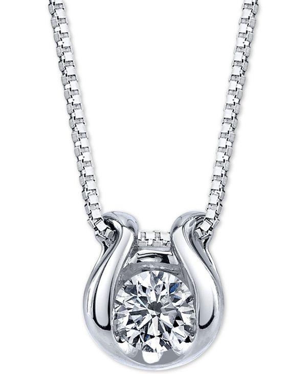 レディースジュエリー・アクセサリー, ネックレス・ペンダント  Diamond Horseshoe 18 Pendant Necklace (12 ct. t.w.) in 14k White Gold WHITE GOLD