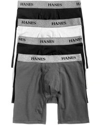 ヘインズ メンズ ボクサーパンツ アンダーウェア Men's 4-Pk. Platinum Stretch Boxer Briefs Black/Grey Assorted