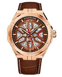 ストゥーリング メンズ 腕時計 アクセサリー Men's Automatic Brown Alligator Embossed Genuine Leather Strap with White Stitching Watch 44mm Brown