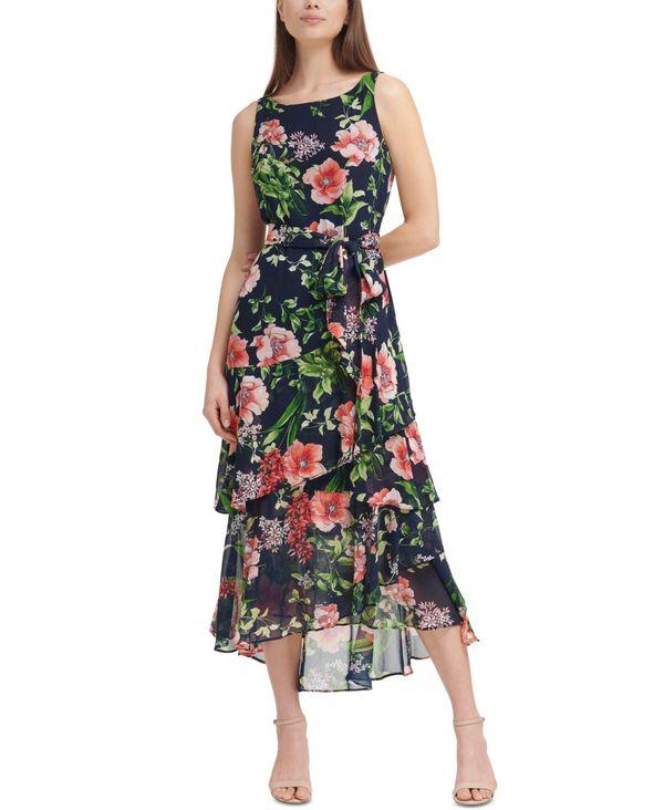 レディースファッション, ワンピース  Printed Tiered Chiffon Maxi Dress Mri