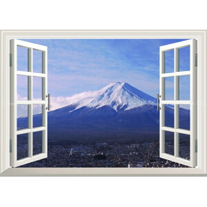 Painting style wallpaper poster (peeling sticker type) -Window view- Mt. Fuji and Clouds on a clear winter Fuji Mt. Fuji Fujiyama [Window specifications / Trick art] Character black FJS-048MA1 (A1 version 830mm x 585mm) Architectural wallpaper + weatherproof paint interior