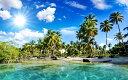 絵画風 壁紙ポスター (はがせるシール式) 椰子のビーチ バリ島 ヤシの木と眩しい太陽 海 キャラクロ BCH-039W2 (ワイド版 603mm×376mm) 建築用壁紙+耐候性塗料 インテリア