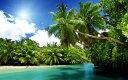 絵画風 壁紙ポスター (はがせるシール式) 南国の自然とビーチ バリ島 インドネシア 海 キャラクロ BCH-060W2 (ワイド版 603mm×376mm) 建築用壁紙+耐候性塗料 インテリア