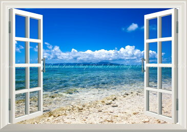 絵画風 壁紙ポスター (はがせるシール式) -窓の景色- 南国のビーチと透き通る海 島 青空 景色 絶景 【窓仕様/トリックアート】 キャラクロ BCH-024MA2 (A2版 594mm×420mm) 建築用壁紙+耐候性塗料 インテリア