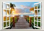 絵画風 壁紙ポスター (はがせるシール式) -窓の景色- ビーチ カリブ海 タークスカイコス諸島の夕暮れ 夕陽 【窓仕様/トリックアート】 キャラクロ BCH-035MA2 (A2版 594mm×420mm) 建築用壁紙+耐候性塗料 インテリア