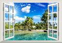 絵画風 壁紙ポスター (はがせるシール式) -窓の景色- 椰子のビーチ バリ島 ヤシの木と眩しい太陽 海 【窓仕様/トリックアート】 キャラクロ BCH-039MA2 (A2版 594mm×420mm) 建築用壁紙+耐候性塗料 インテリア