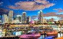 絵画風 壁紙ポスター (はがせるシール式) マイアミ マリーナ 夕暮れ夜景 フロリダ州 アメリカ リゾート カリブ海 キャラクロ UMAM-002W2 (ワイド版 603mm×376mm) 建築用壁紙+耐候性塗料 インテリア