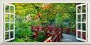 絵画風 壁紙ポスター (はがせるシール式) -窓の景色- 森 お宮 日...