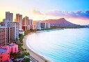 壁紙ポスター (はがせるシール式) ハワイ 夕陽のワイキキビーチ