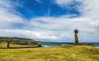 絵画風 壁紙ポスター (はがせるシール式) モアイ イースター島 ラパ・ヌイ国立公園 世界文化遺産 キャラクロ ESTM-002W2 (ワイド版 603mm×376mm) 建築用壁紙+耐候性塗料 インテリア